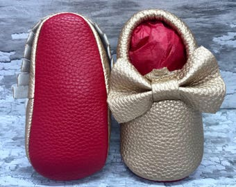 Bronze Red Sole Baby, Red Bottom Moccasin Baby Pram Shoes - Like Mummy's Louboutins but Designer Inspired! Louboutin Baby!
