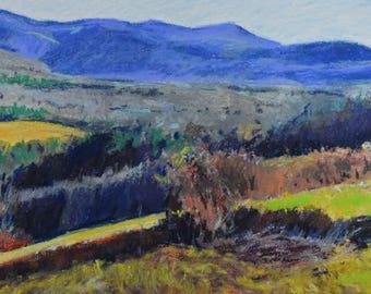 Original Pastel Painting, Berkshire Landscape, Mount Greylock, Sheep Hill, Autumn, by Robert Lafond
