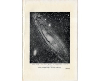 C. 1909 ANDROMEDA NEBULA - original antique print - lithograph from Yerkes Observatory - astronomy - great nebula in constellation andromeda