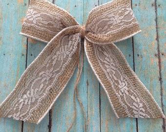 Burlap and White Lace Bows / Wedding Burlap Decorative Bows / Set of 11 Bows / Vintage Burlap and White Lace Bows / Rustic Decor Bows