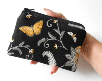 Small Zipper Pouch Coin Purse ECO Friendly Padded Little Zipper Pouch Golden Garden