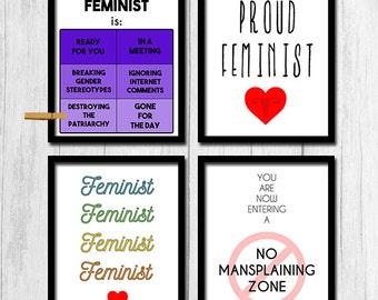 Feminist Prints Digital Download Set of Four Prints Instant Download Gifts for Feminists Mansplaining Poster Feminism Art Printables