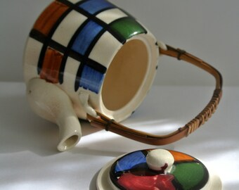 SALE-Mid-Century-HAND PAINTED- Ceramic Teapot-Bamboo Handle-