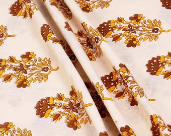 Cream-Yellow and Brown Floral Design Block Print Cotton Fabric, Cotton Hand Printed Fabric, 100% Cotton