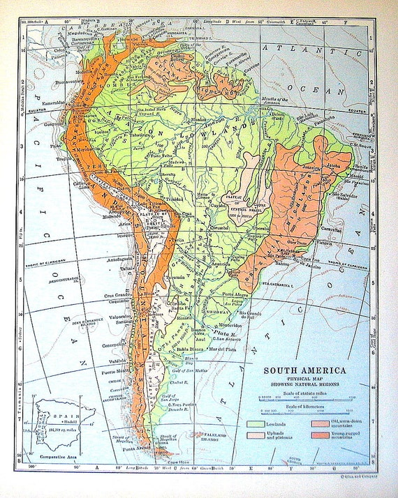 1920 Map of South America Physical Map Showing Natural