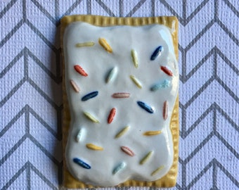 Porcelain Pop-Tart Magnet with White Frosting and Assorted Sprinkles