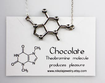 Chocolate Molecule Necklace in Gold or Silver, Chemistry Necklace, Theobromine, Tea Necklace, Biology Jewelry, Chocolate and Tea Lovers