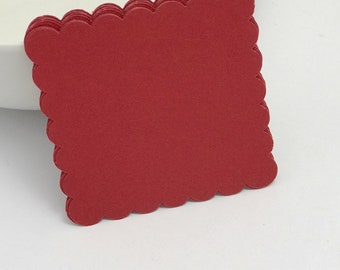 paper die cuts maroon scalloped square die cuts, 3 inch die cuts gift tag, scrapbooking, journal spot, paper. papercrafts card making