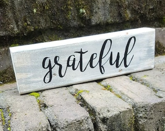 Thankful Block Sign Home Decor, Distresed, Gray