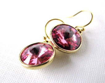 Rose Luxury - Swarovski Rivoli Rhinestone Drop Earrings in Rose Pink - in Gold Plated Settings, Vintage Rose and Gold