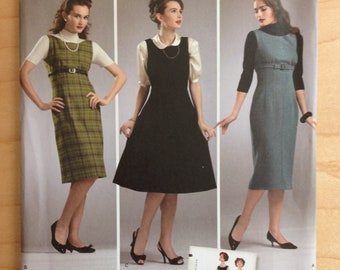 Simplicity 3673 Retro 1950s Jumper Dress Bateau Neckline, Raised Waist, Dart Shaping in Straight Wiggle or Full Flared - Size 14 16 18 20 22