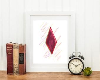 Rhomb rubin, abstract modern wall art, print decor