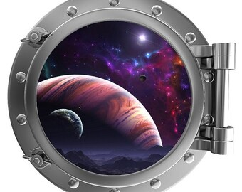 Porthole Wall Fabric Color Decal Planets 12 In Removable Reusable
