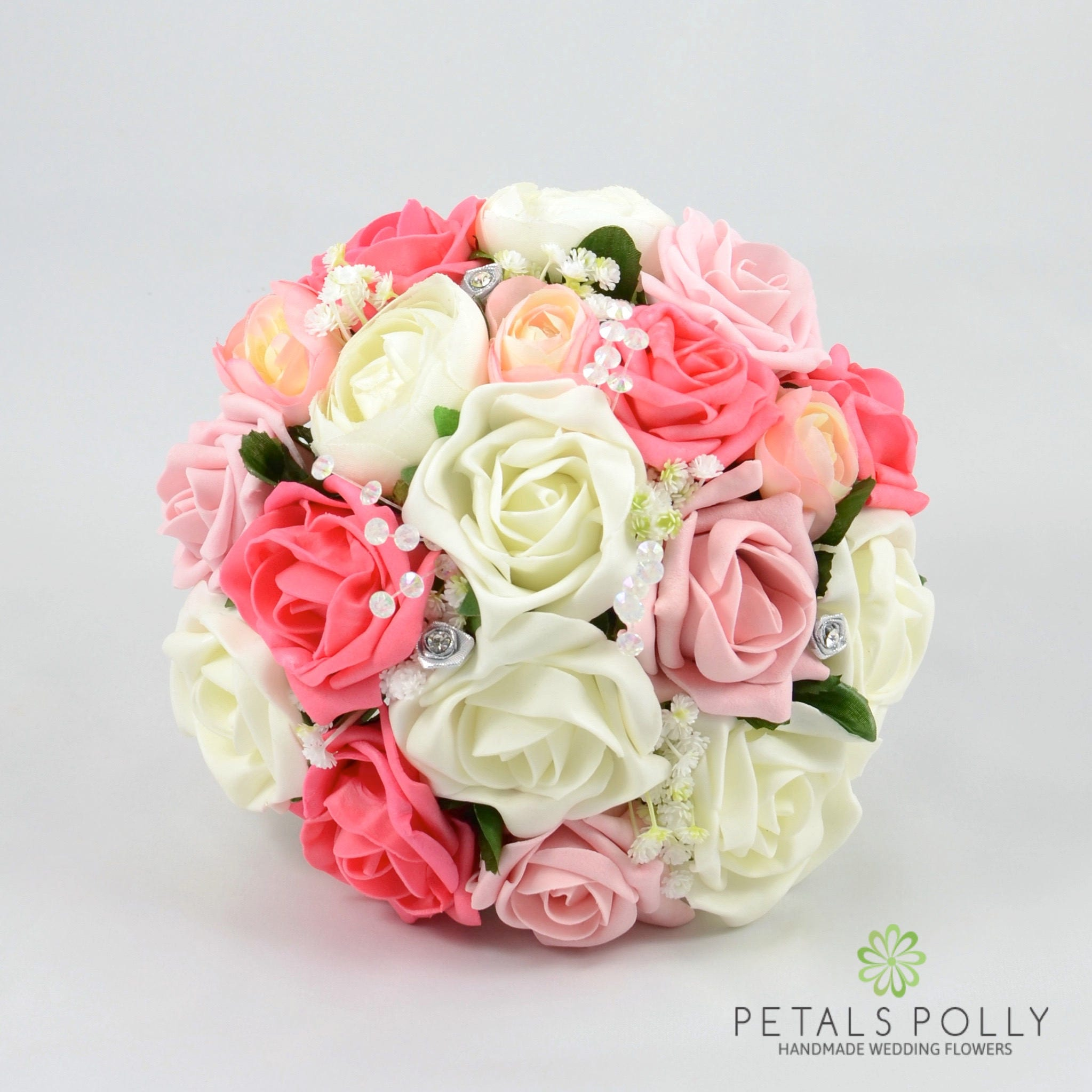 Artificial Wedding Flowers Antique Pink Coral & Ivory Rose