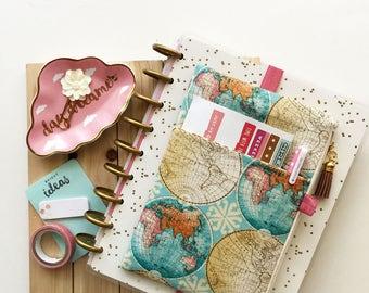 Map print bag - happy planner bag - teachers gift - planner accessories bag - planner cover - daily planner - bullet journal bag