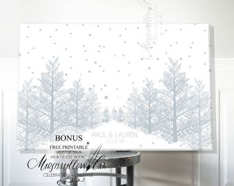 Wedding Guest Book, Winter Guest Book Canvas, Wedding Guest Book Alternative, Wedding Tree, Wedding Gift, Guest Book Sign, Snow Guestbook