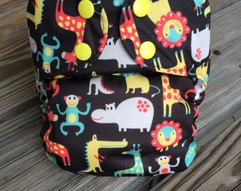 Safari Party AIO Cloth Diaper - One Size, All in One - FREE SHIPPING!