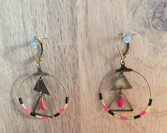 Earrings pink gold and black