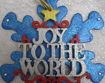 Joy to the World Snowflake Christmas ornament