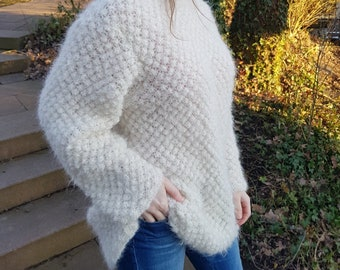 Sweater FLINGA knitted Alpaca hand made in France