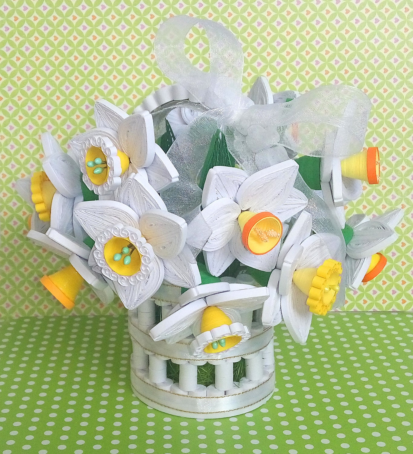 Quilling Basket With Daffodils 3d Quilled Paper Qulling Paper