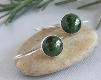 Dark Green Gemstone and Sterling Silver Earrings, Green and Silver Earrings, Silver Earrings, Dangle Silver Earrings, Everyday Earrings
