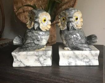 Vintage Alabaster Owl Bookends Mid Century Modern Book Ends Italian Alabaster Bird Book Holders