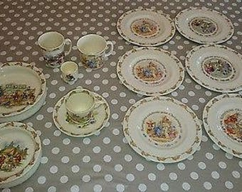 Vintage Royal Doulton Bunnykins Assorted Tableware Set - 13 Pieces