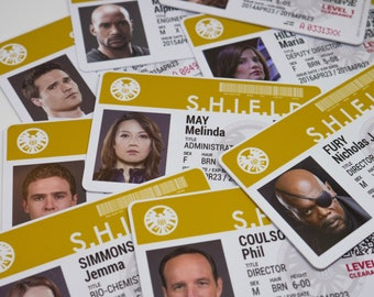 Marvel Agents of SHIELD TV Show ID Badge, Phil Coulson, Melinda May, Grant Ward, Leo Fitz, Jemma Simmons, Skye, S.H.I.E.L.D.