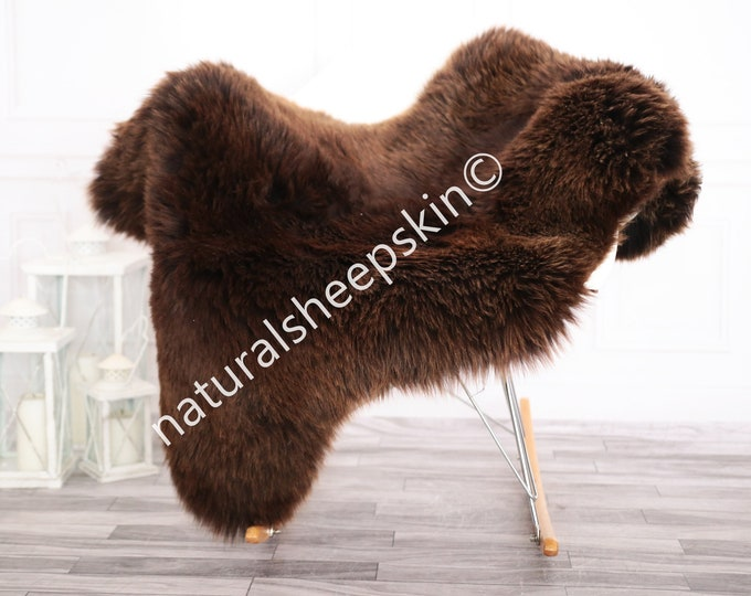 Sheepskin Rug | Real Sheepskin Rug | Shaggy Rug | Chair Cover | Sheepskin Throw | Brown Sheepskin | Home Decor | #febher69
