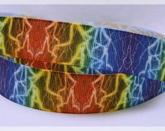 """Rainbow Bright Lightning Bolt Colorful Printed Grosgrain Ribbon 7/8"""" Wide Scrapbooking HairBows Parties DIY Projects AZ246"""