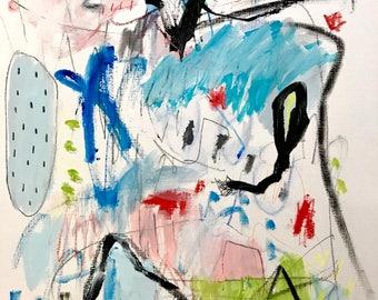 Original Abstract Art on paper, modern home decor, wall art