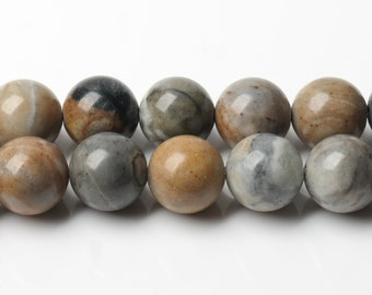 B356 Natural Picasso Jasper Beads Supplies, Full Strand 4 6 8 10 12mm Round Picasso Jasper Gemstone Beads for DIY Jewelry Making