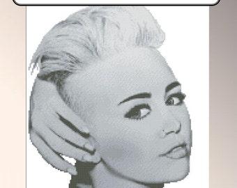 Miley Cyrrus cross stitch pattern