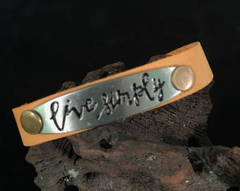Live simply / handmade leather bracelet / gift / boho jewelry /inspirational / choice of leather color / soft leather