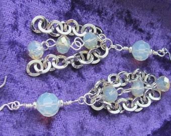 Opalite Earrings Opalescent Earrings Round Silver Chain Dangle Earrings