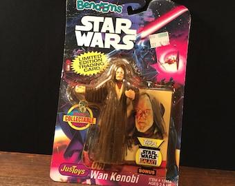 Vintage Star Wars Figure Bendy Obi Wan Kenobi Bendems 1993 on Card PRIORITY MAIL