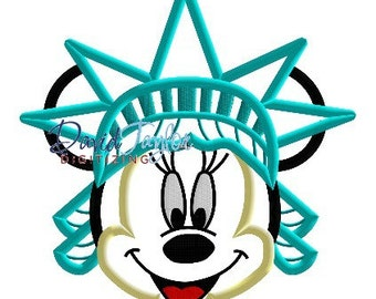 Minnie Liberty - 4x4, 5x7 and 6x10 in 9 formats - Applique - Instant Download - David Taylor Digitizing