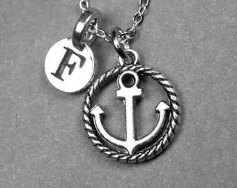Anchor Necklace, Anchor and rope Necklace, anchor charm, Nautical necklace, personalized necklace, initial necklace, hand stamped, monogram