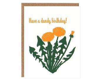 Have a Dandy Birthday -- Dandelion Flower Screenprinted Card