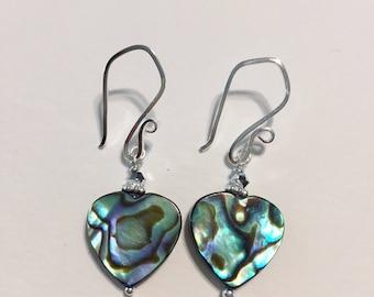 Abalone Earrings - Heart Earrings - Beach Jewelry - Shell Earrings - Paua Abalone - Valentines Day Jewelry