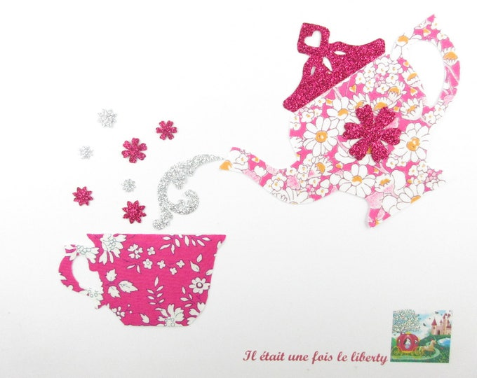 Applied fusing teapot and Teacup tea liberty Capel flex fusible applique glitter fuchsia pink Alice liberty coat