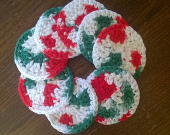 Special Edition Christmas Face Scrubbies (set of 8) - washable facial rounds - reusable cotton rounds - crocheted makeup pads