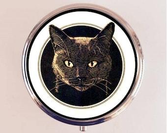 Black Cat Head Pill Box Case Pillbox Holder Trinket Stash Box Retro Animal Art
