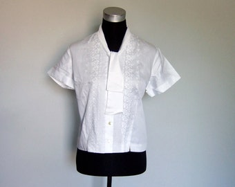 60s White Blouse Simple Embroidered Lace Short Sleeve Shirt Vintage 1960s Button Up Bow Tie Neck Office Top - Large to Extra Large L XL