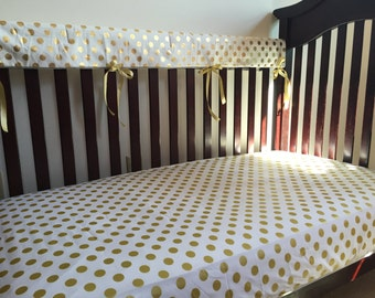 White, Gold Polka Dot Baby Bedding, Nursery Bedding, Toddler Bedding, Gender Neutral, White and Gold, Crib Sheet, Crib Skirt, Bumper Pads