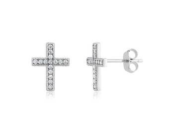 Rhodium plated Sterling Silver and Cubic Zirconia Cross Post Earrings