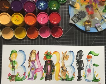 Legend of Zelda, Link, Video Game Name Painting - Custom, Made to Order