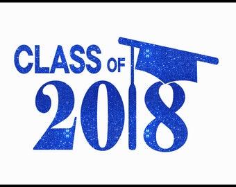 Custom Graduation Cap Class Of 2018 Iron On Vinyl Or Glitter Vinyl Graduation Heat T-shirt Transfer