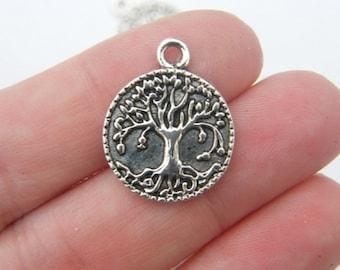 8 Tree pendants antique silver tone T6